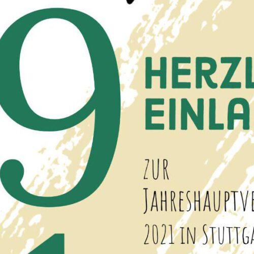 Herzliche Einladung zur Jahreshauptversammlung 2021 in Stuttgart
